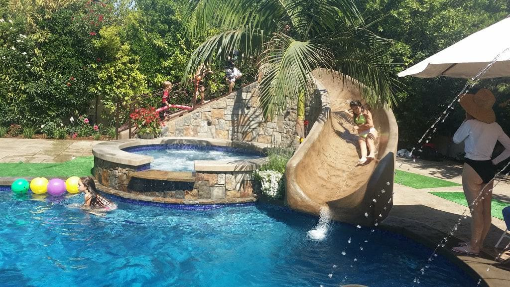 La Canada Fiber Optic Pool With Bar And Water Slide