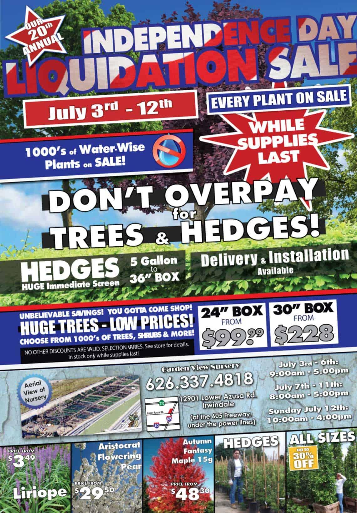 4th of July 2015 Garden View Nursery Sale Flyer
