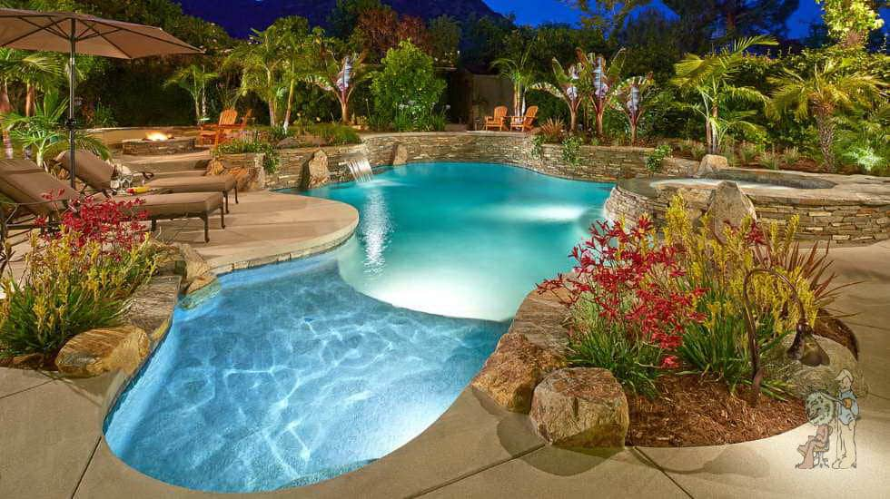 shallow pool entry and free form pool