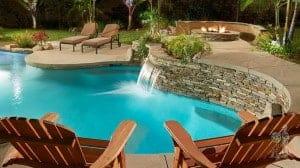 Seating area overlooking pool