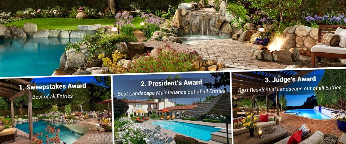 Collage of 3 Garden View landscapes that won awards in 2015