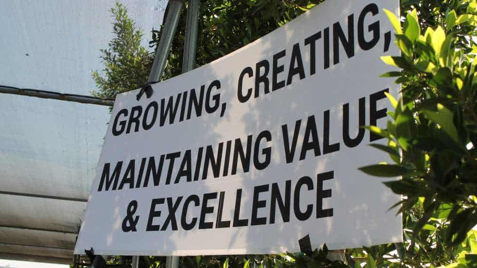 "Garden View's Mission statement: ""Growing, Creating, Maintaining Value & Excellence"""