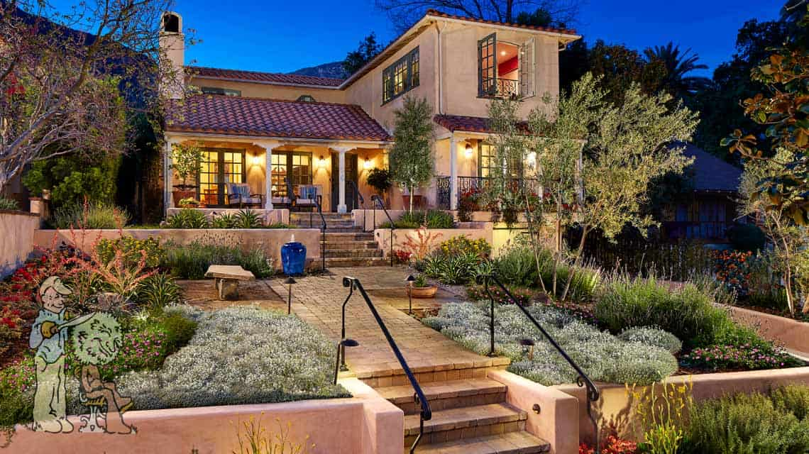 water-wise Spanish Style front yard landscape in Sierra Madre