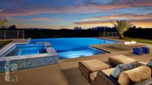 South Pasadena Glass Tile Infinity Edge Pool