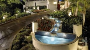 Art Deco Fountains with Fiber Optic Lights along driveway