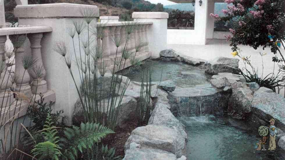balustrade over rock fountain
