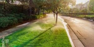 Mountain Cove HOA Maintenance with sprinklers and sunset