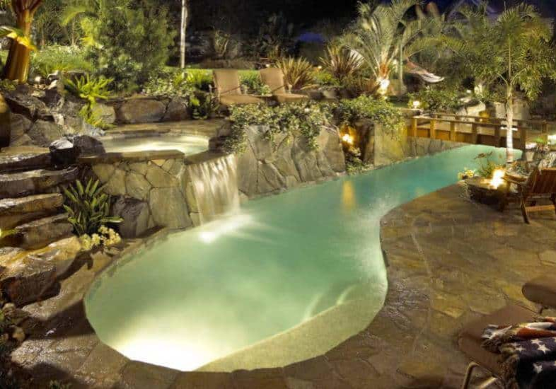 Natural rock pool with informal narrow shape and spa