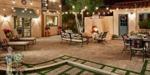 backyard pavers seating area with fireplace in Sierra Madre, CA