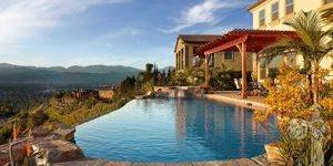 facing house infinity pool overhang with kangaroo paw