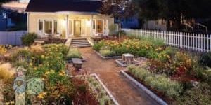 Judges award winning front yard path and garden with picket fence