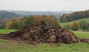 fertilizer compost on a grassy hill