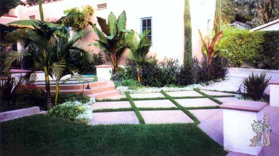 concrete pavers with grass dividers