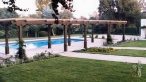 Custom Arbor Framing next to swimming pool