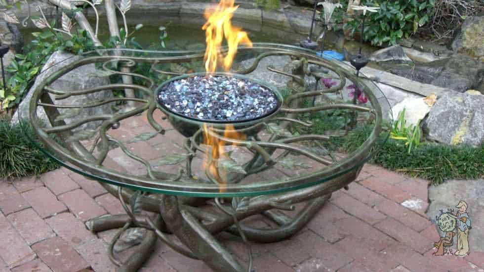 custom glass firepit table