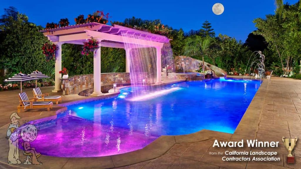 Fiber optic award winning pool and waterslide
