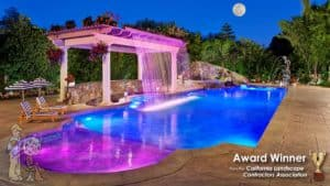 Fiber optics color changing lights with waterfall trellis and swim-up bar