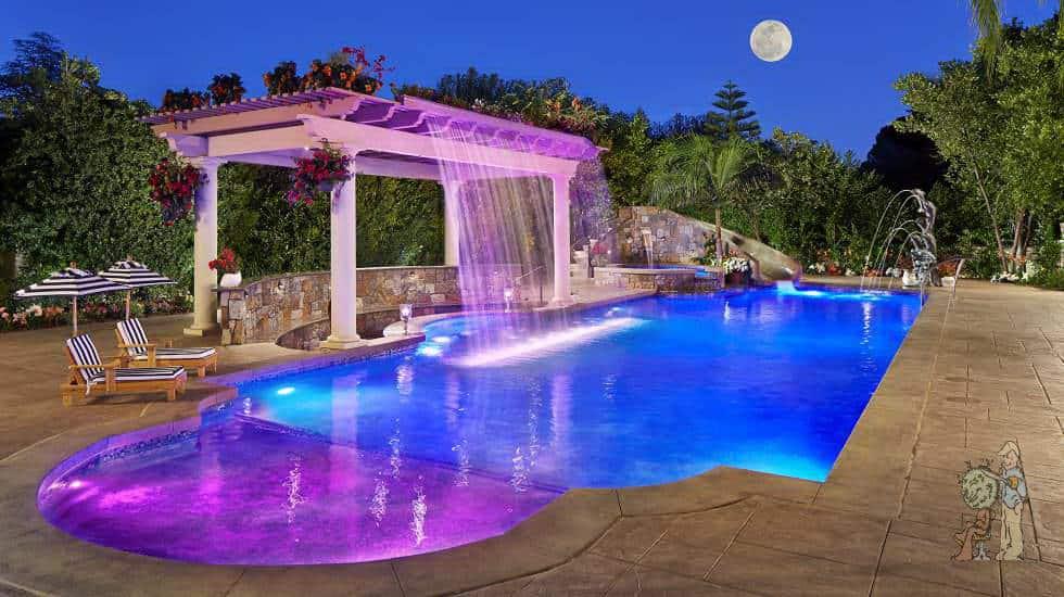 fiber optic pool lighting and waterfall with water slide
