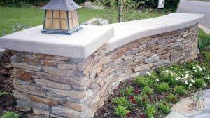 Flagstone seatwall with antique lantern