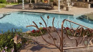 Free form pool custom iron railing