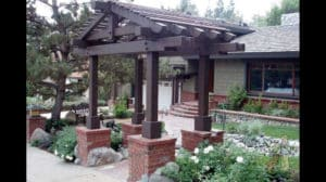Craftsman Arbor in Sierra Madre Front Yard