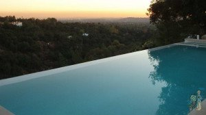 Infinity edge pool overlooking San Gabriel Valley