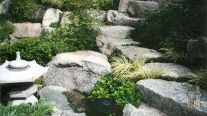 Japanese Garden with Stone Steps