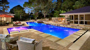 La Canada conteporary pool with firepit, pavers, and gym