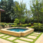Altadena, CA estate backyard water features and divided pavers with fountain