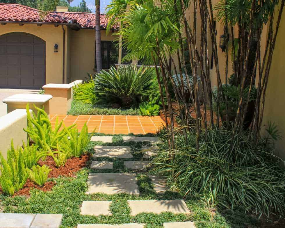 Altadena, CA estate backyard water features and divided pavers and succulents