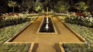 Mediterannean courtyard pond with fountains