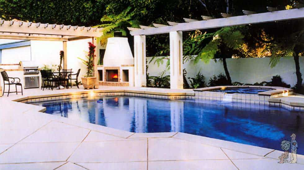 Inground swimming pool, spa and outdoor fireplace with reflective arbor