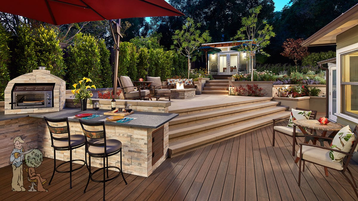 outdoor kitchen, deck, and landscape with pizza oven