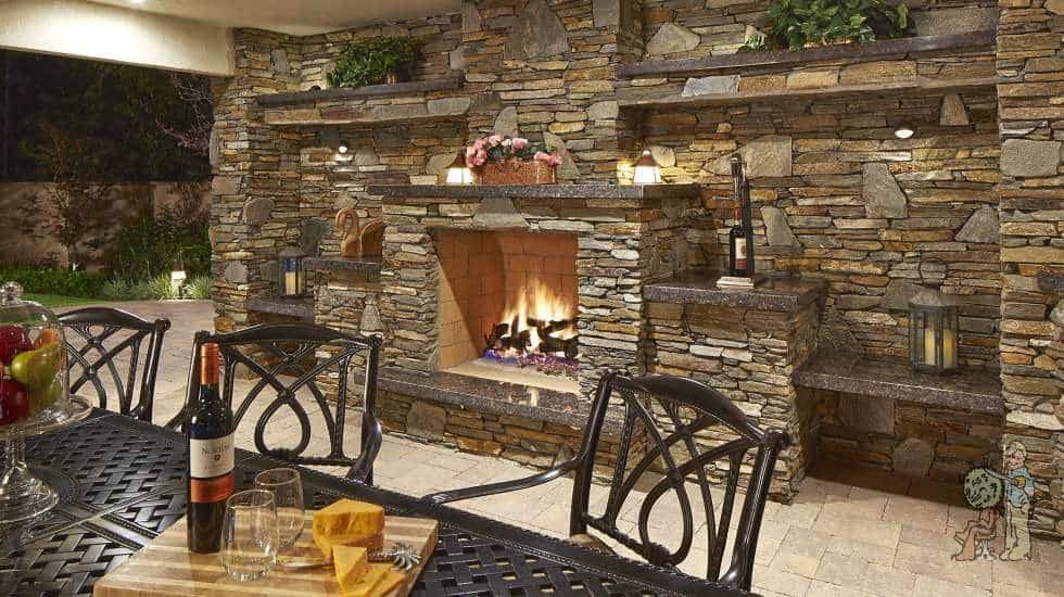 outdoor fireplace dining area