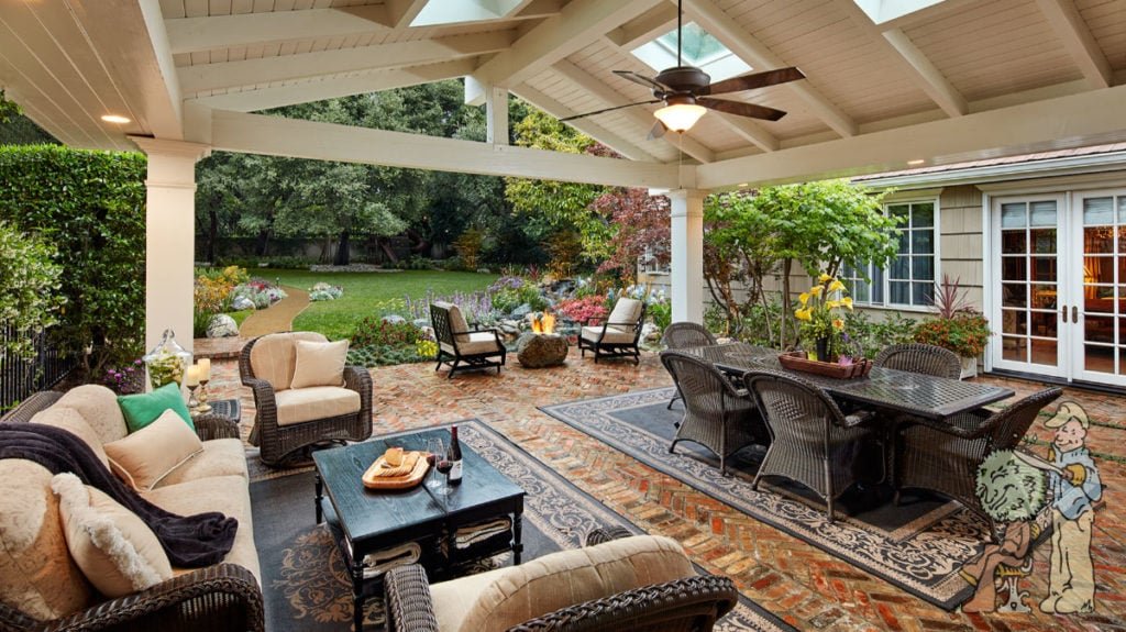 giant gazebo structure covering firepit and outdoor living room