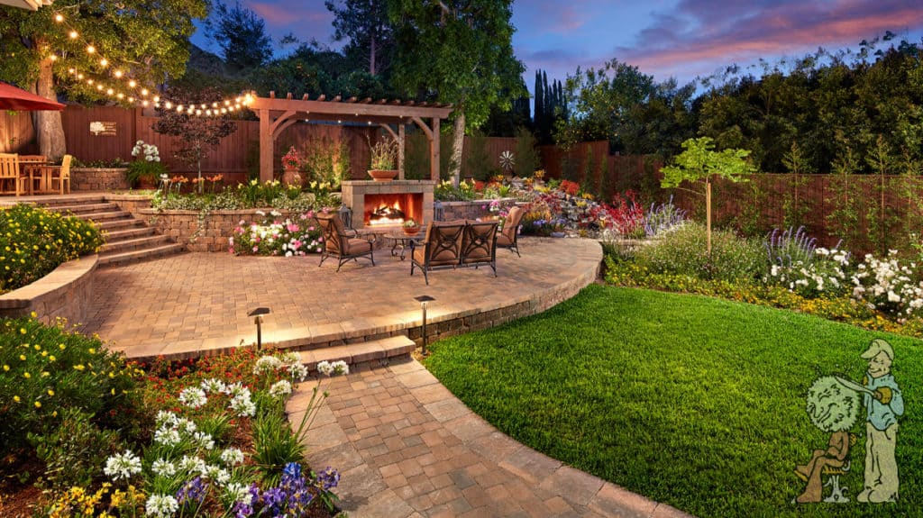 custom outdoor landscape with pavers, fireplace, and trellis