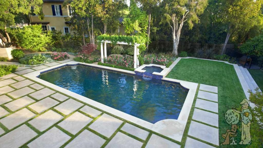 Traditional Style Pasadena Pool Remodel Garden View