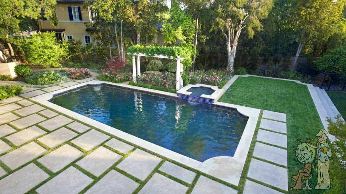 birds eye view of Pasadena, CA rectangular pool with grass divided pavers