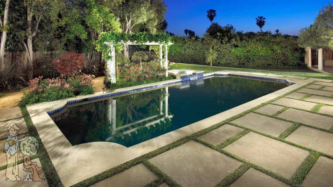pasadena traditional style rectangular pool with trellis and grass divided concrete
