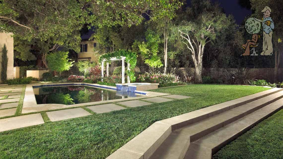 Traditional Pool with grass divided pavers and steps