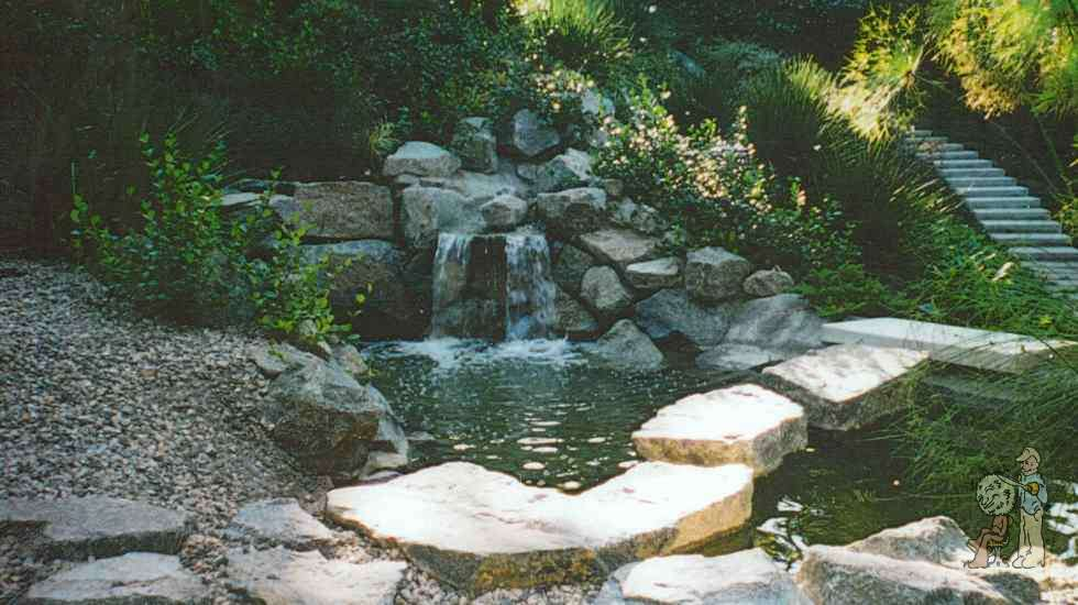 pond with boulder steps