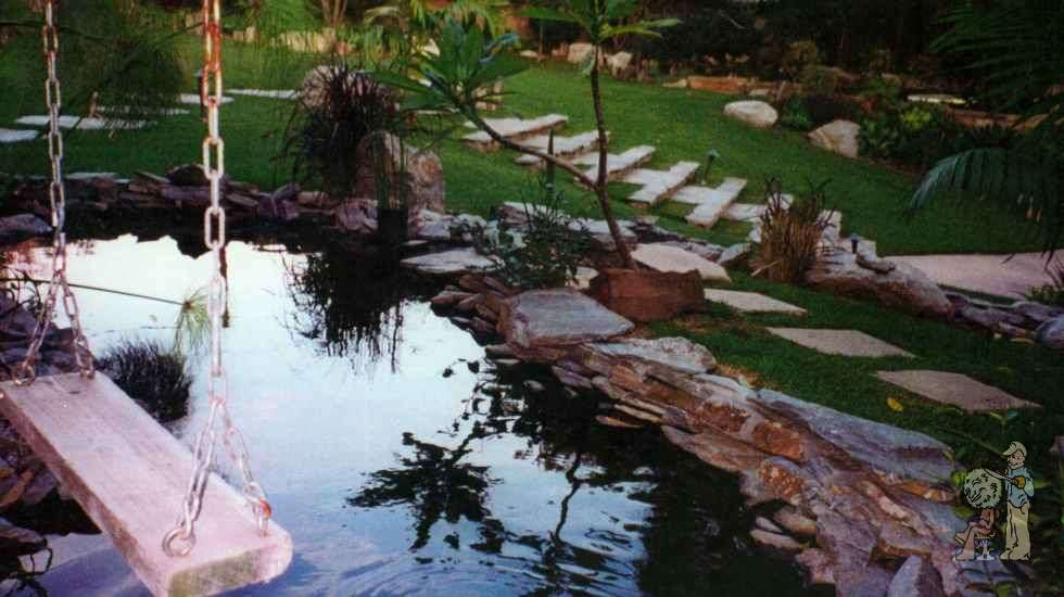 pond with swing and steps