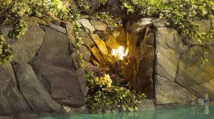 Close-up of real rock low-voltage lighting pool cavern
