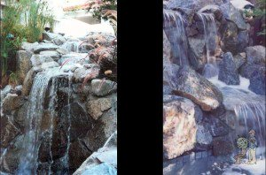 two rock waterfalls made with baja boulders