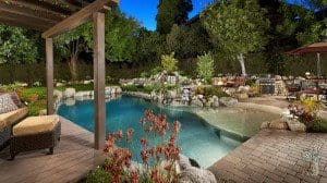 Rock pool and patio with BBQ