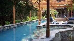 Rock pool with trellis overhang