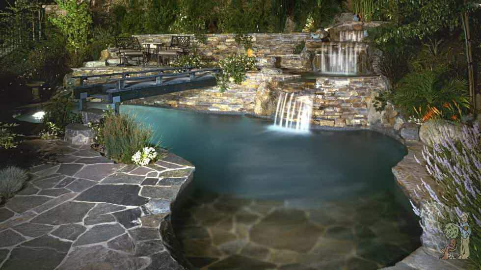 Two tier waterfall spa with beach grotto and bridge