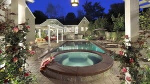Spa arbor and swimming pool backyard