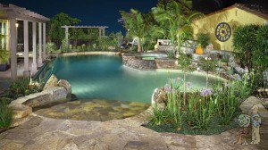 Thai style pool and firepit