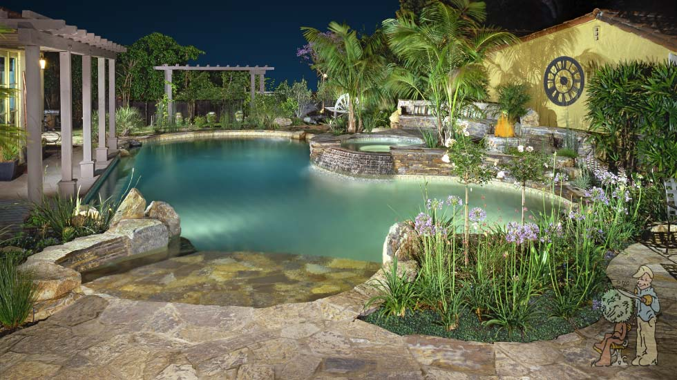 Thai style pool with stacked stone and agapanthus in San Marino, CA